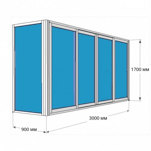Остекление Г-образного балкона 3000х1700 [Стекло 4мм] с глухой боковой створкой 900х1700 [Стекло 5 мм]