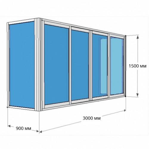 Остекление П-образного балкона 3000х1500 [Стекло 4мм] с глухой боковой створкой 900х1500 [Стекло 5 мм], и с  раздвижной боковой створкой 900х1500 [Стекло 4 мм]