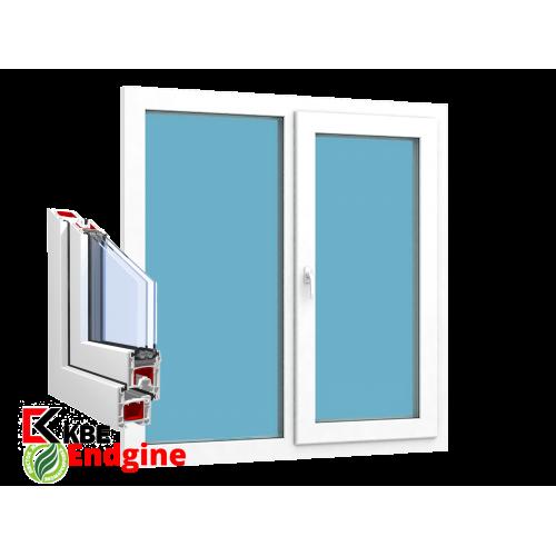 """Окно 2 створки 1300 x 1400 """"KBE 58 Белый"""""""