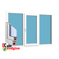 """Окно 3 створки 2100 x 1400 """"KBE 58 Белый"""""""